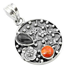 3.68cts halloween natural onyx pear sponge coral silver flower pendant t57513
