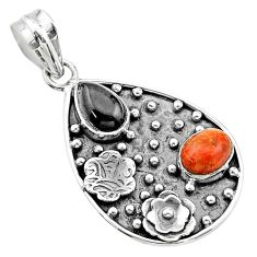 5.30cts halloween natural onyx pear sponge coral silver flower pendant t57525