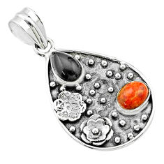 Clearance Sale- 4.93cts halloween natural onyx pear sponge coral silver flower pendant t57526