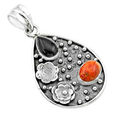 Clearance Sale- 5.09cts halloween natural onyx pear sponge coral silver flower pendant t57527
