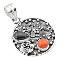 Clearance Sale- 3.42cts halloween natural onyx red sponge coral 925 silver flower pendant t57501