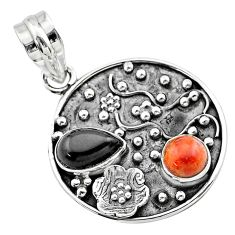 3.52cts halloween natural onyx red sponge coral 925 silver flower pendant t57502