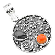 Clearance Sale- 3.53cts halloween natural onyx red sponge coral 925 silver flower pendant t57503