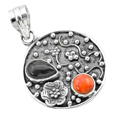 3.68cts halloween natural onyx red sponge coral 925 silver flower pendant t57505