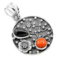 3.69cts halloween natural onyx red sponge coral 925 silver flower pendant t57509