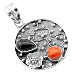Clearance Sale- 3.52cts halloween natural onyx red sponge coral 925 silver flower pendant t57516