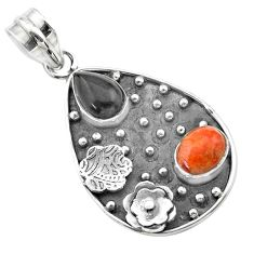 4.94cts halloween natural onyx red sponge coral 925 silver flower pendant t57518