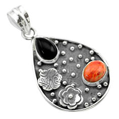 4.74cts halloween natural onyx red sponge coral 925 silver flower pendant t57519