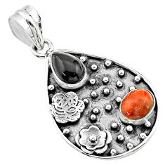 Clearance Sale- 4.91cts halloween natural onyx red sponge coral 925 silver flower pendant t57523
