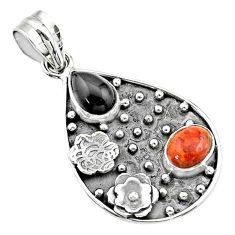 4.73cts halloween natural onyx red sponge coral 925 silver flower pendant t57529