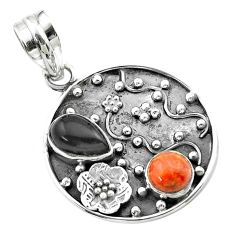 Clearance Sale- 3.68cts halloween natural onyx sponge coral 925 silver flower pendant t57515