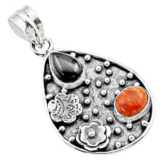 5.12cts halloween natural onyx sponge red coral 925 silver flower pendant t57521