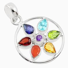 Healing energy multi-gemstone flower of life 925 sterling chakra pendant r65390