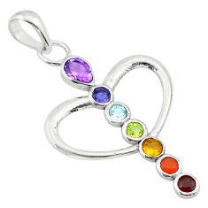 Heart balancing natural gems healing energy 925 silver chakra pendant t40457