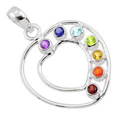 Heart of healing love seven chakra 925 silver pendant jewelry balance r65306