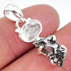 Herkimer diamond campo del cielo (meteorite) 925 silver pendant t10721