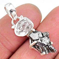 Herkimer diamond campo del cielo (meteorite) 925 silver pendant t10723