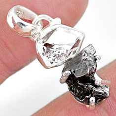 Herkimer diamond campo del cielo (meteorite) 925 silver pendant t10725