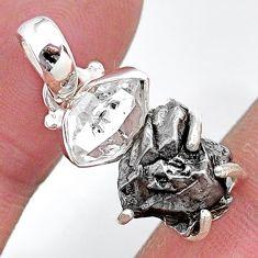 Herkimer diamond campo del cielo (meteorite) 925 silver handmade pendant t10728