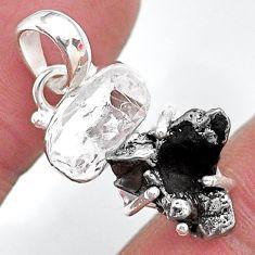Herkimer diamond campo del cielo (meteorite) 925 silver handmade pendant t10729