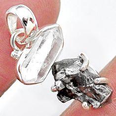 Herkimer diamond campo del cielo (meteorite) 925 silver handmade pendant t10733