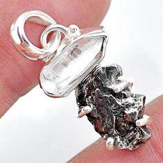 Herkimer diamond campo del cielo (meteorite) 925 silver handmade pendant t10737