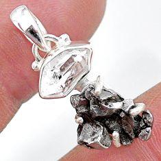 Herkimer diamond campo del cielo (meteorite) 925 silver handmade pendant t10738
