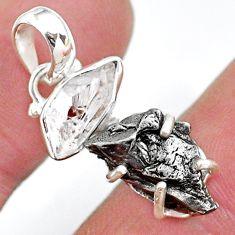 Herkimer diamond campo del cielo (meteorite) 925 silver pendant t10741