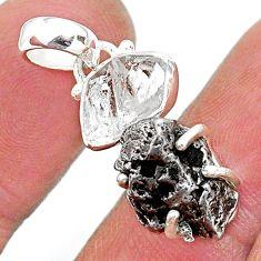 Herkimer diamond campo del cielo (meteorite) 925 silver pendant t10742