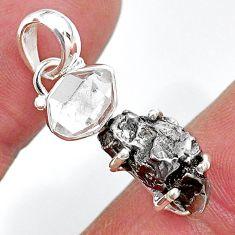 Herkimer diamond campo del cielo (meteorite) 925 silver pendant t10745
