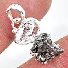 Herkimer diamond campo del cielo (meteorite) 925 silver pendant t10748