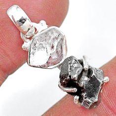 Herkimer diamond campo del cielo (meteorite) 925 silver pendant t10750