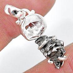 Herkimer diamond campo del cielo (meteorite) 925 silver pendant t10751