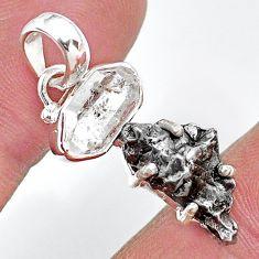 Herkimer diamond campo del cielo (meteorite) 925 silver pendant t10755