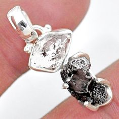 Herkimer diamond campo del cielo (meteorite) fancy 925 silver pendant t10736