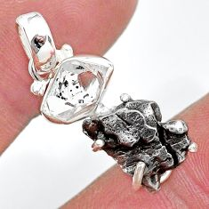 Herkimer diamond campo del cielo (meteorite) fancy shape silver pendant t10746