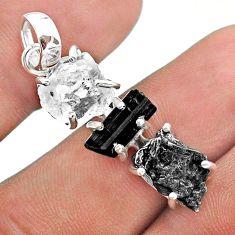 Herkimer diamond campo del cielo tourmaline raw 925 silver pendant t49406