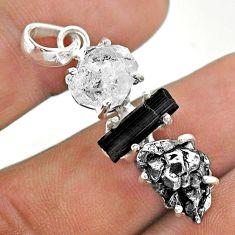 Herkimer diamond campo del cielo tourmaline raw 925 silver pendant t49418