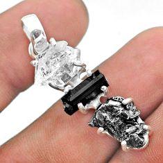 Herkimer diamond campo del cielo tourmaline raw 925 silver pendant t49420
