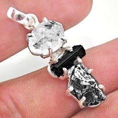 14.72cts herkimer diamond campo del cielo tourmaline raw silver pendant t49381