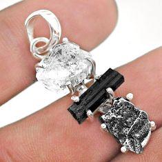 15.68cts herkimer diamond campo del cielo tourmaline raw silver pendant t49408