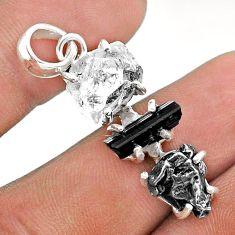 Herkimer diamond campo del cielo tourmaline raw silver pendant t49409
