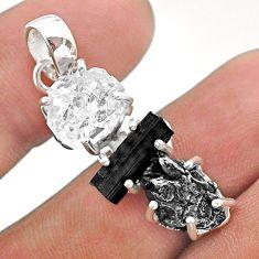 Herkimer diamond campo del cielo tourmaline raw 925 silver pendant t49413