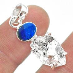 12.71cts herkimer diamond doublet opal australian 925 silver pendant t49538