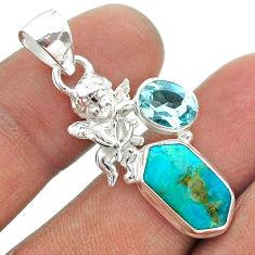 7.50cts hexagon arizona mohave turquoise topaz 925 silver angel pendant t55401