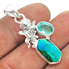 6.98cts hexagon arizona mohave turquoise topaz 925 silver angel pendant t55453