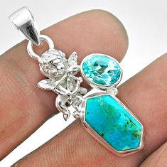 6.93cts hexagon arizona mohave turquoise topaz 925 silver angel pendant t55471