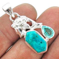 7.71cts hexagon arizona mohave turquoise topaz 925 silver fish pendant t55410