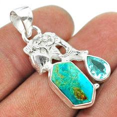 7.33cts hexagon arizona mohave turquoise topaz 925 silver fish pendant t55442