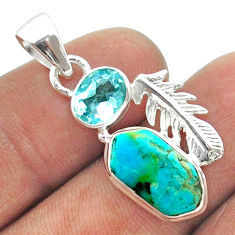6.43cts hexagon arizona mohave turquoise topaz feather silver pendant t55390